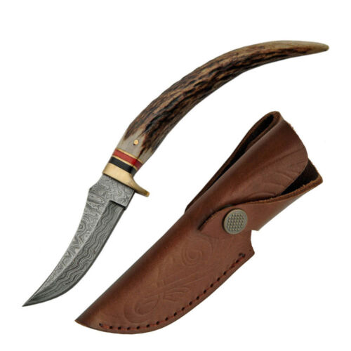 """NEW IN BOX Real Damascus Stag Knife 8"""" w/ Sheath Antler Grip Athame Boline Steel"""