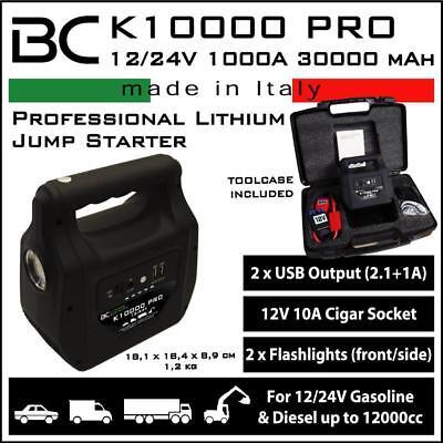 Booster avviamento Avviatore al litio BC K10000 PRO 12/24V per Auto Moto Scooter