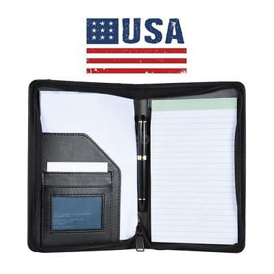 A5 Zipped Leather Business Conference Portfolio Folder Briefcase Handles-us X8t4
