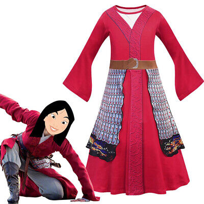 Anime Costume For Kids (Kids Mulan Cosplay Costume for Girls Princess Dress Retro Tabard Anime)