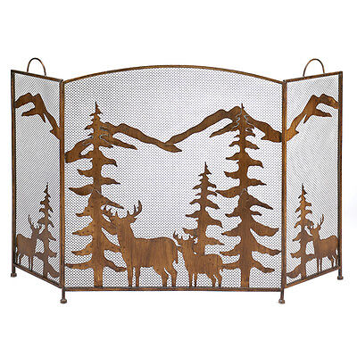Antique Style Wrought Iron Forest Themed Folding Fireplace Screen