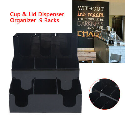 Black Coffee Cup Lid Holder Organizer Condiment Caddy Rack Stand Dispenser