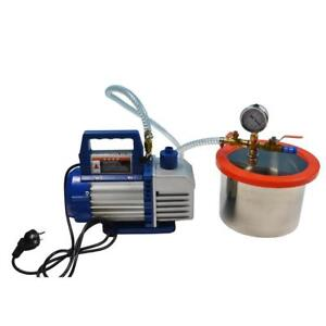 220V Stainless Steel 2 Gallon Vacuum Chamber & 1L Vacuum Pump 1400RPM 1/4HP Item 230547