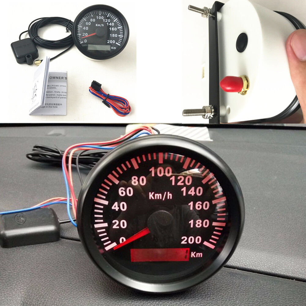 Waterproof Marine Boat Car GPS Speedometer Odometer Digital Gauges 85MM 200KM/H