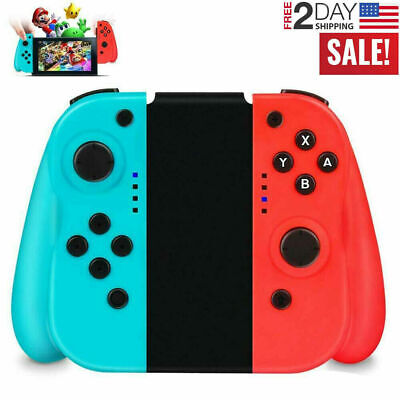 For Nintendo Switch (L/R) Wireless Bluetooth Controllers - Blue/Red + Joystick