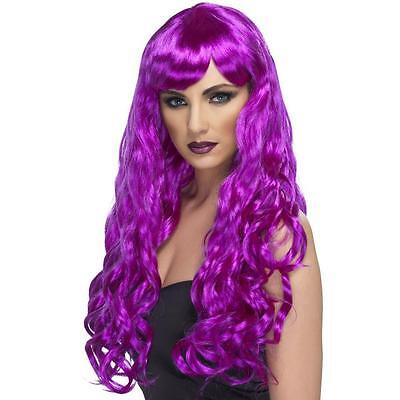 Womens Girls Purple Desire Wig Long Wavy Halloween Katy Perry Colour Hair Neon - Purple Katy Perry Wig