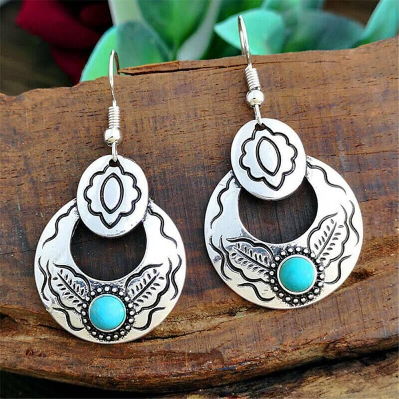 Vintage Boho 925 Silver Turquoise Gemstone Hoop Dangle Ear H