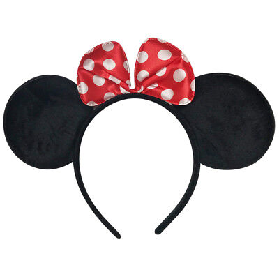 Disney Lovely Minnie Mouse Ears Headband Baby Infant Toddler White Dots Red Bow