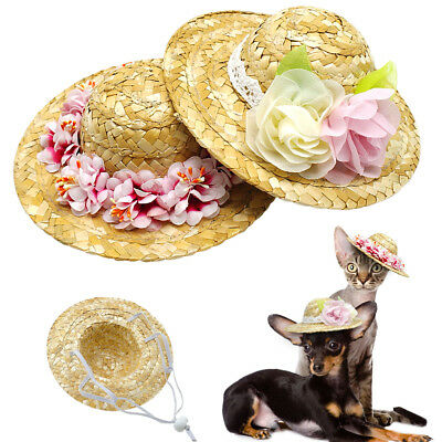 Dog Straw Hat Costume Small Pet Sun Cap for Puppy Cat Ear Accessory Summer - Straw Costume