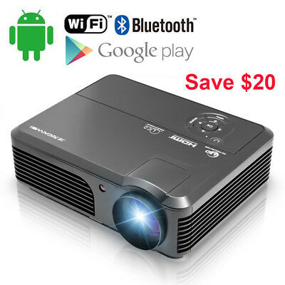 Smart Android 6.0 Projector HD 4200Lumen Video Bluetooth Wifi 1080p Home Theater