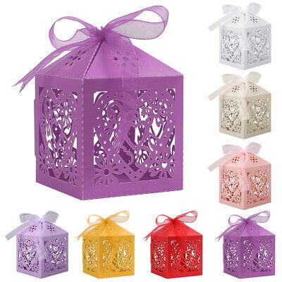 25/50/100Pcs Paper Candy Gift Box Laser Cut Wedding Favor Love Heart Party