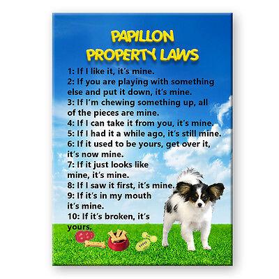 PAPILLON Property Laws FRIDGE MAGNET Steel Cased DOG ()