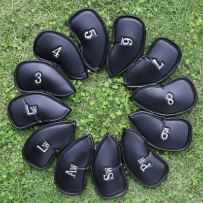 12 PCS PU Leather Golf Iron Head Covers Club Putter Headcovers 3-SW Set Black (Leather Head)