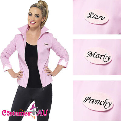 Pink Ladies Frenchie Costume (Deluxe 1950s Grease Pink Lady Jacket Ladies Badges 50s Costume Frenchie)