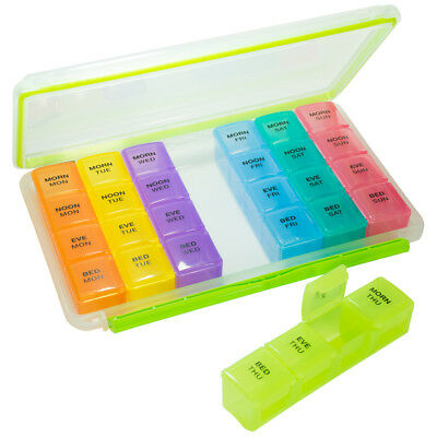 GMS 4x/Day Waterproof & Airtight 7-Day Pill Tray w/ Removable Pill Boxes Case