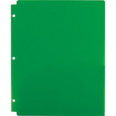 Staples 2 Pocket Folder Snap In 3-hole Punched Green 962241