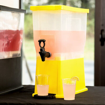 Choice 3 Gallon Yellow Bottom Plastic Iced Tea Punch Juices Beverage - Punch Dispenser