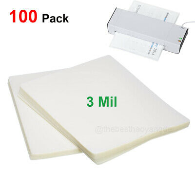 100 Pack Letter Thermal Laminating Pouches Sheets Clear 9in X 11-12in 3 Mil Us
