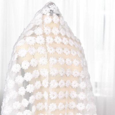 Chiffon Blumen Braut Kostüm Stoff Naturweiss Perlen Hochzeit Spitze Stoff 0.5 - Chiffon Spitze Kostüm