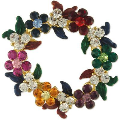 CRYSTAL CHRISTMAS WREATH BROOCH PIN XMAS MADE WITH SWAROVSKI ELEMENTS