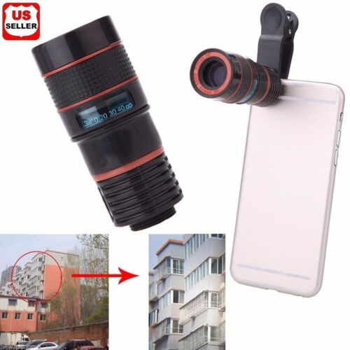 Universal 8X Zoom Lens Optical Clip Telephoto Telescope Cell Phone Camera Lens Cell Phone Accessories