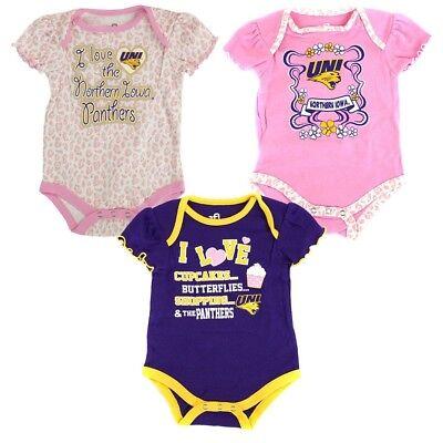 Northern Iowa Panthers NCAA Infant Purple/Pink/White Frill 3 Piece Creeper Set Northern Iowa Set