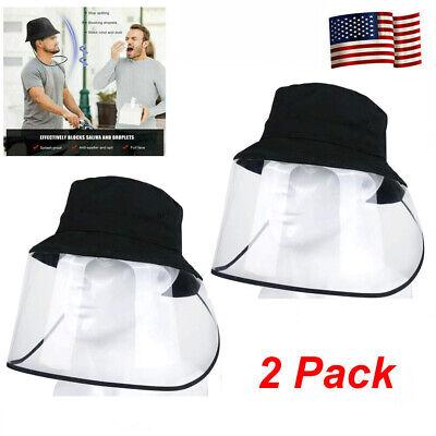 2Pack Fisherman Hat Bucket Cap Anti Saliva Protective Cap Face Shield Dustproof
