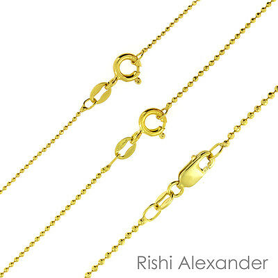 14K Gold over 925 Sterling Silver Diamond Cut Ball Bead Chain Necklace All Sizes Gold Diamond Cut Bead Chain