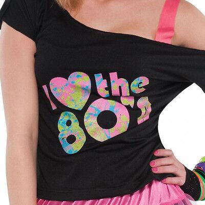 Disco fancy Dress Costume I Love the 80s T-SHIRT 80s Dress Up ladies FREE P&P (Dress Up Disco)