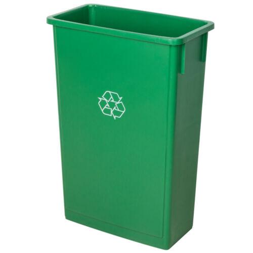 23 Gallon Green Rectangle Heavy-Duty Plastic Slim Recycle Bin