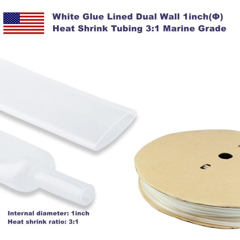 "5ft Marine Grade White Glue Lined Dual Wall 1"" Waterproof Heat Shrink Tubing 3:1"