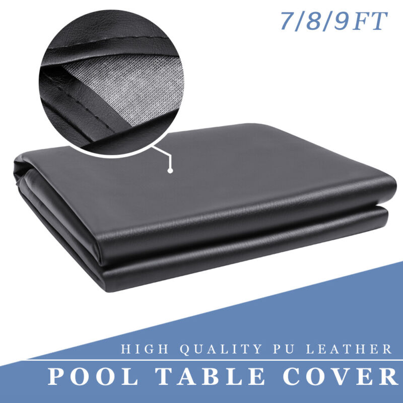 7ft/8ft/9ft Leatherette Billiard Heavy Duty Pool Table Cover Protector Black USA