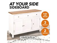 Sideboard 110x33.5x70 cm Solid Oak Wood-247122