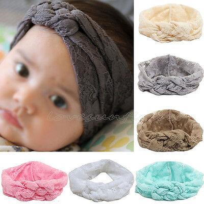 5pcs Kids Girls Baby Toddler Lace Knot Cross Elastic Headband Hair Band Headwear