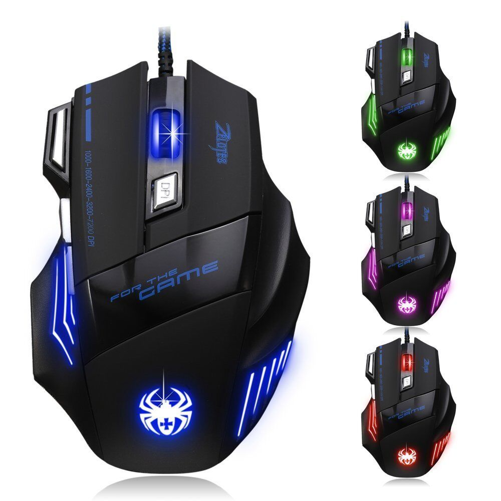 Mouse Zelotes T80 Gaming Gamer professional 7200 DPI 7 Pulsante Mouse da Gioco