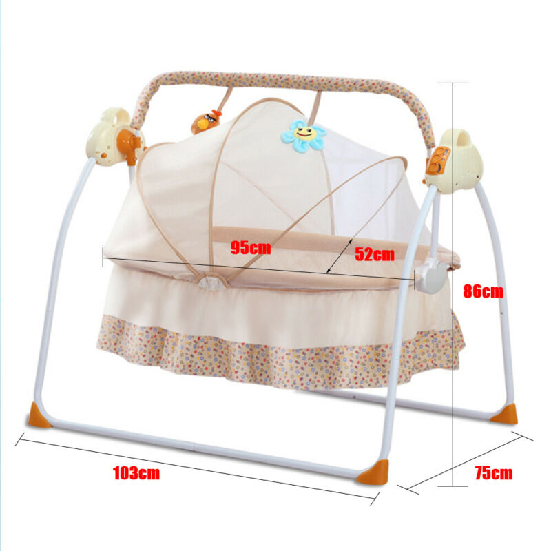 Bluetooth Electric Auto-Swing Baby Cradle Crib Infant Rocker Cot with Remote