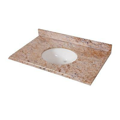 St. Paul 37 in. x 22 in. Stone Effects Vanity Top in Tuscan Sun w/ White Basin 2