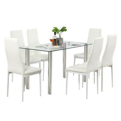 7 PCS Dining Set Glass Metal Table and 6 Chairs Kitchen Dining Room Furniture US