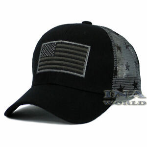 a123229cf7f6f7 USA American Flag hat Tactical Operator Flag on Mesh Snapback Baseball cap- Black
