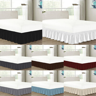 MISR Linen Solid Wrap Around BedSkirt Egyptian Cotton 400 Thread Count 21 Inches ()