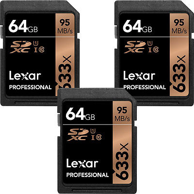 Lexar 64GB Professional 633x SDXC Class 10 UHS-I/U1 Memory Card 3-Pack Bundle
