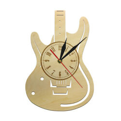 Guitar Wooden Musical Instrument Wall Clock Eco Friendly Natural Timepiece Watch