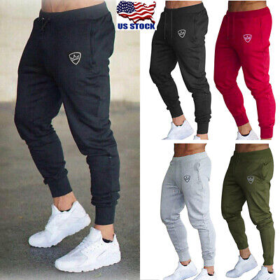 Mens Sport Pants Long Trousers Tracksuit Fitness Workout Joggers Gym Sweat Pants