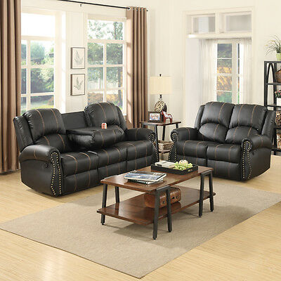 Black Leather Sofa Loveseat (Gold Thread 3+2 Sofa Set Loveseat Couch Recliner Leather Living Room Black )