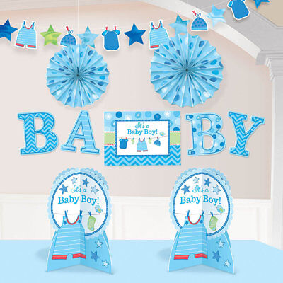 Baby Shower For A Boy Decorations (Baby Boy Blue  Decorating Kit for Baby Shower  - 10 Piece Set for It's a Boy )