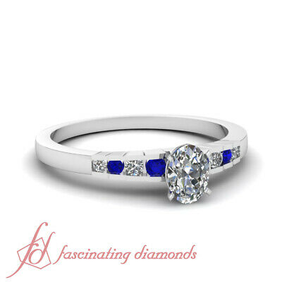 .65 Ct Sapphire Gemstone And Oval Shaped Diamond Engagement Ring Channel Set GIA