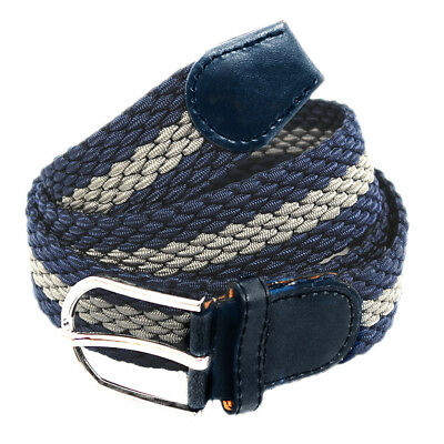 Unisex Flechtgürtel elastisch Damen Herren Gürtel geflochten 358 Blau Grau