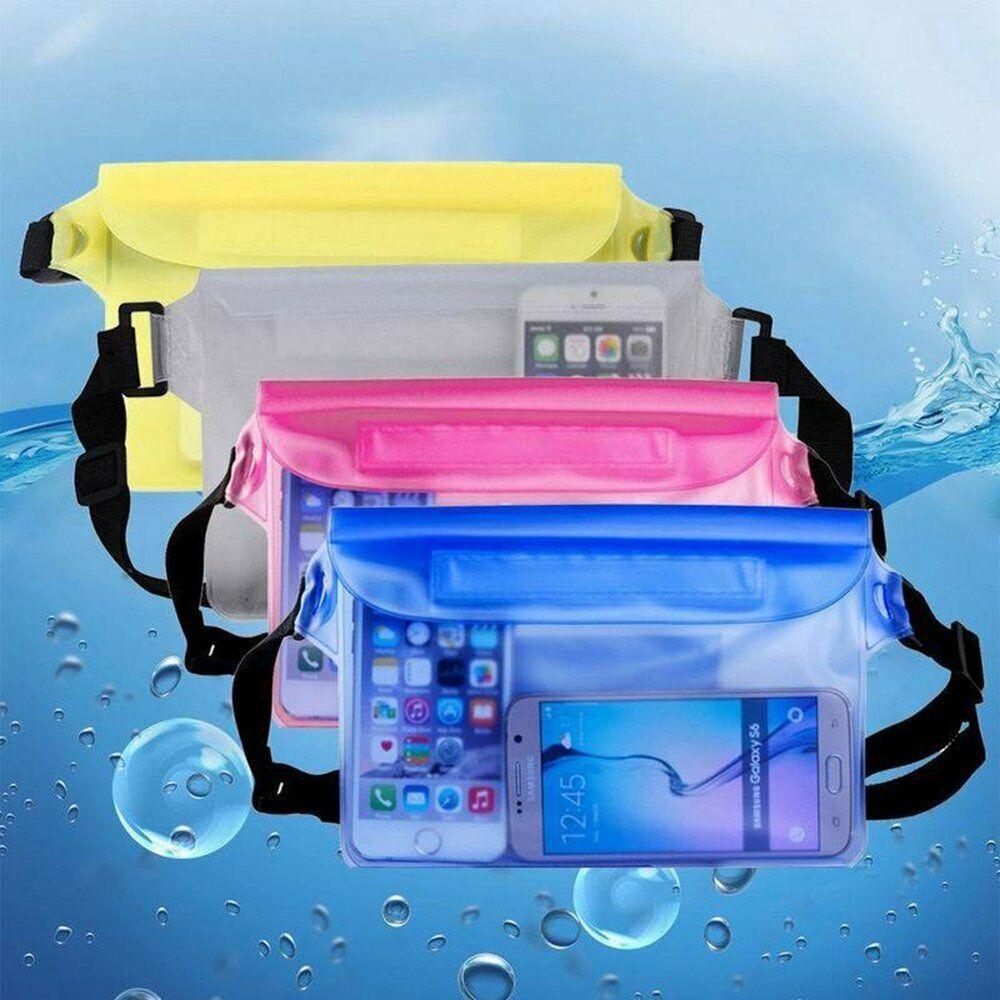 Unisex PVC Waterproof Waist Pouch Bag Dry 3 Zipper Locks Bea