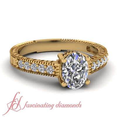 3/4 Carat Oval Shaped Diamond Rings Vintage Inspired Pave Set 14K GIA Certified