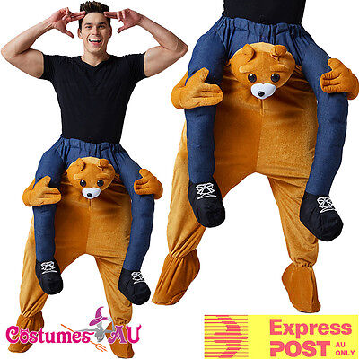 Mens Teddy Bear Costume Shoulder Carry On Piggy Back Ride Me Zoo Party Mascot ()